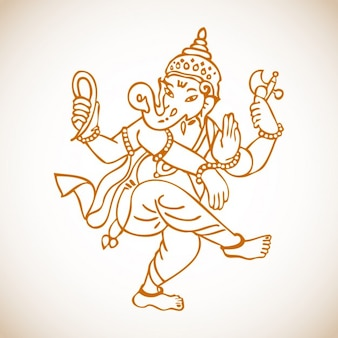 Ganesha Dancing Drawing