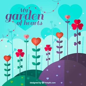 Garden background with hearts in flat design
