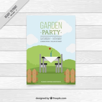 Garden party card with a table and fence in flat design