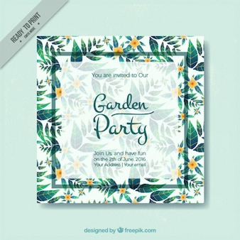 Garden party card with cute green leaves