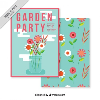 Garden party card with flat vase