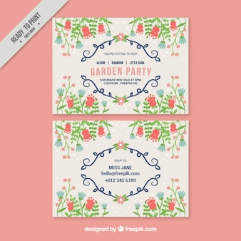 Garden party card with sketches leaves and cute flowers