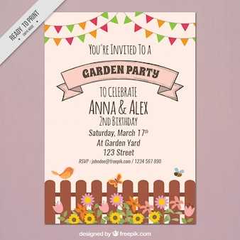 Garden party flyer with a fence and garlands