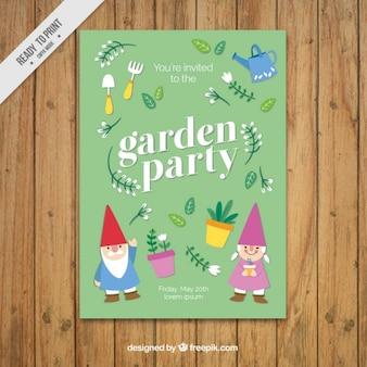 Garden party invitation design with gnomes