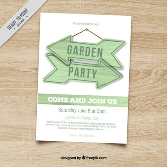 Garden party invitation with arrow signs