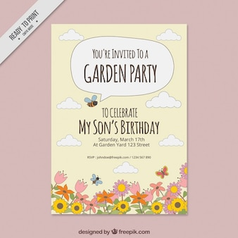 Garden party invitation with hand drawn flowers