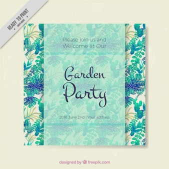 Garden party invitation with watercolor leaves