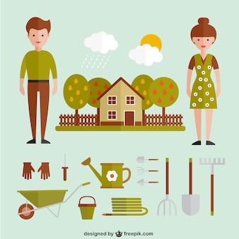 Gardening equipment and house