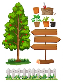 Gardening items with tree and fence illustration