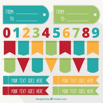 Garlands and numbers set in flat design