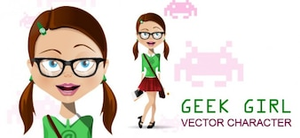 geek girl vector character