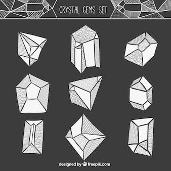 gems set in hand drawn style