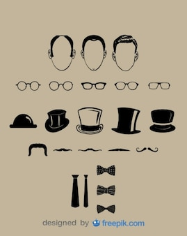 Gentleman Classic Look Vector Elements Collection