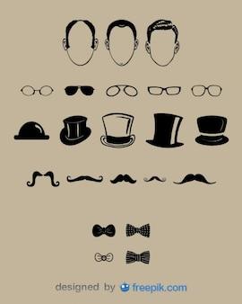 紳士の顔やファッションデザインセット