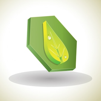 Geometric 3d icon with a leaf