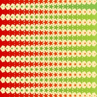 Geometric abstract background with green and red stars