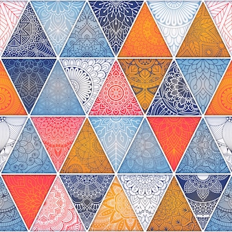 Geometric abstract background with mandalas