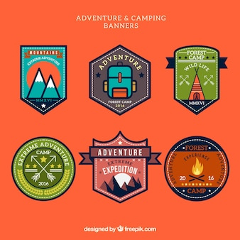 Geometric adventure and camping labels