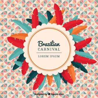 Geometric background with colorful feathers for brazilian carnival