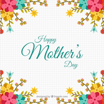 Geometric background with decorative flowers for mother's day