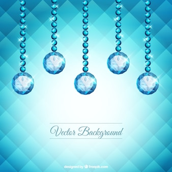 Geometric background with gems hanging