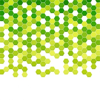 Geometric background with hexagons in green tones