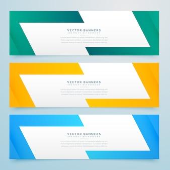Геометрические веб-баннеры, установленные в разных цветах