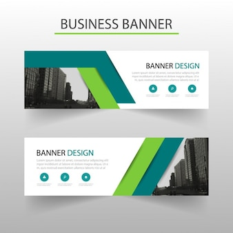 Geometric banner with green lines