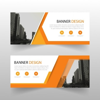 Geometric banner with orange shapes