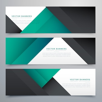 Geometric banners, colors black and teal