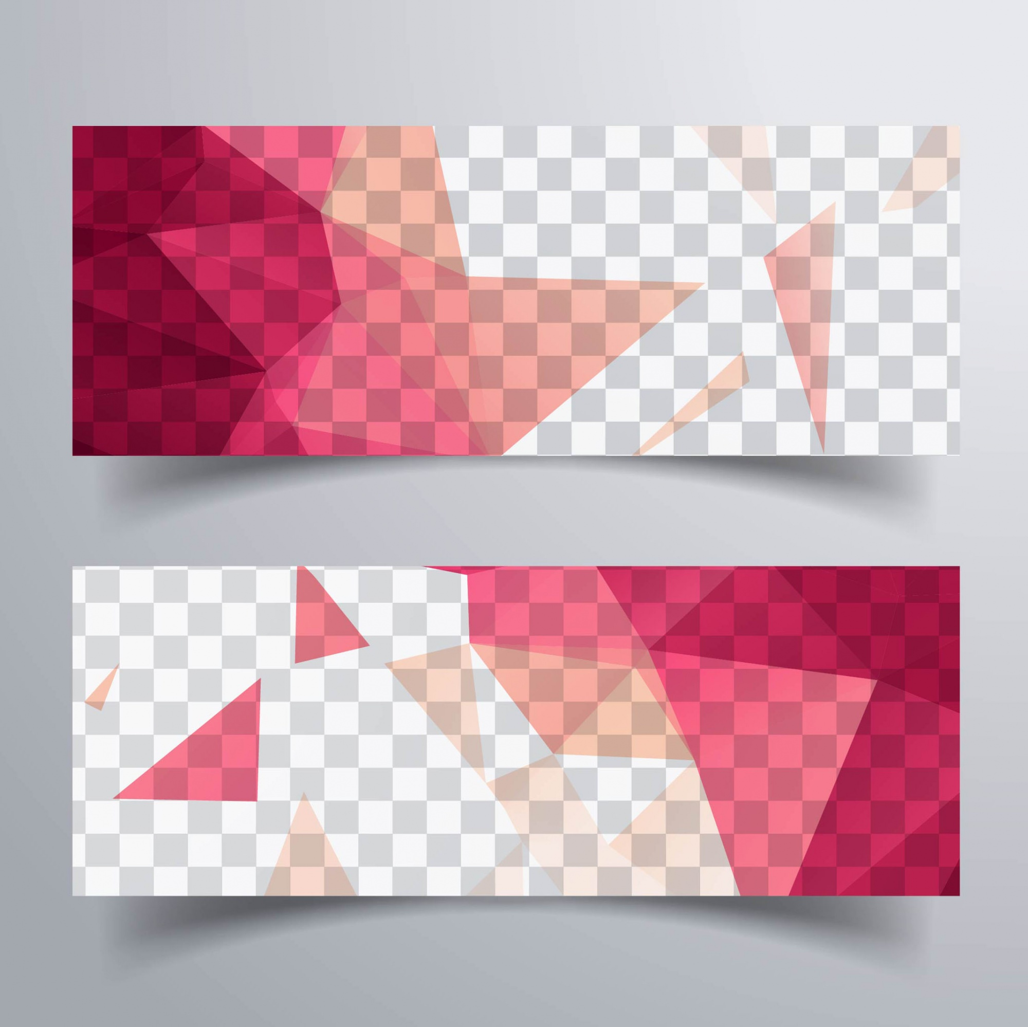 Geometric banners, red tones