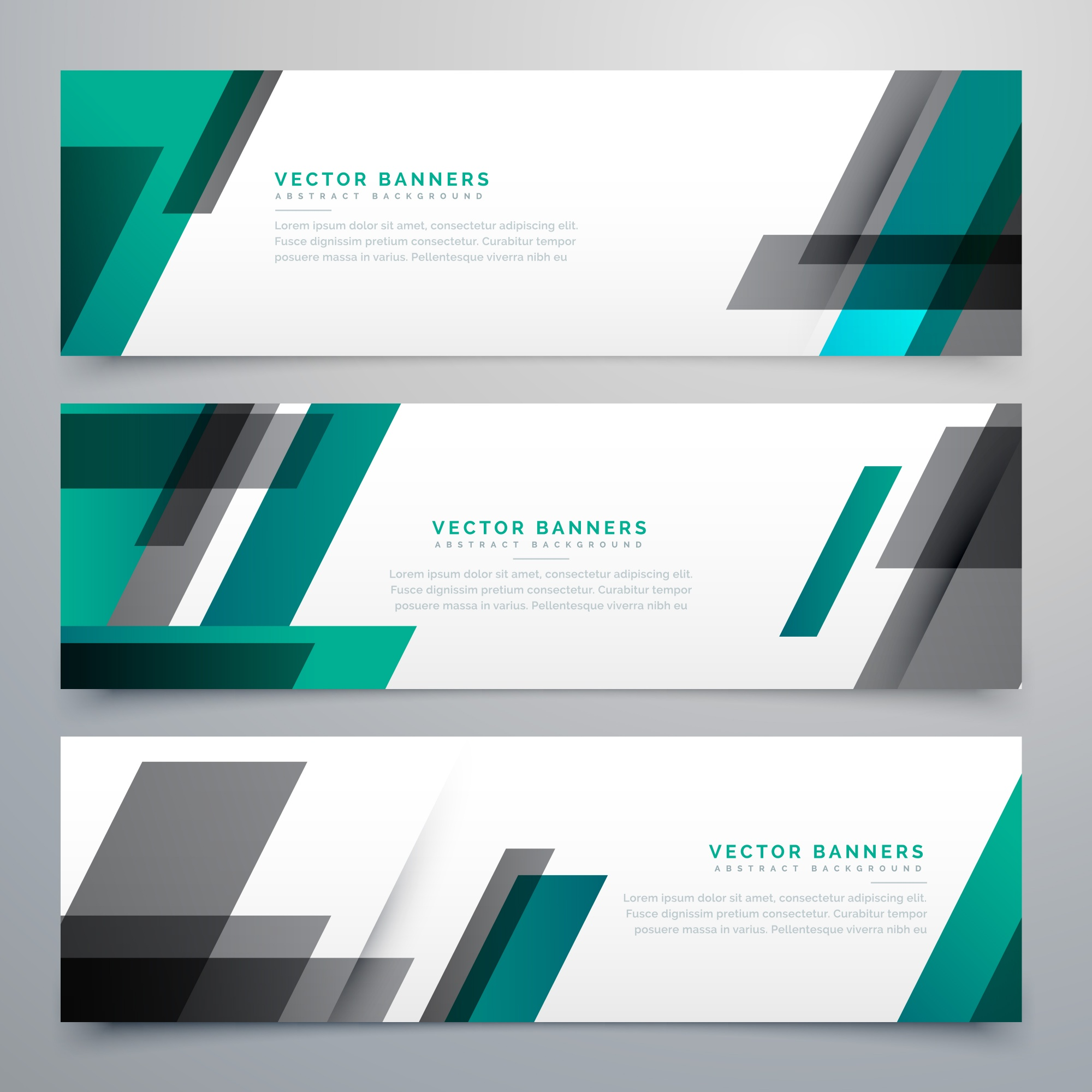 Geometric banners, teal and black