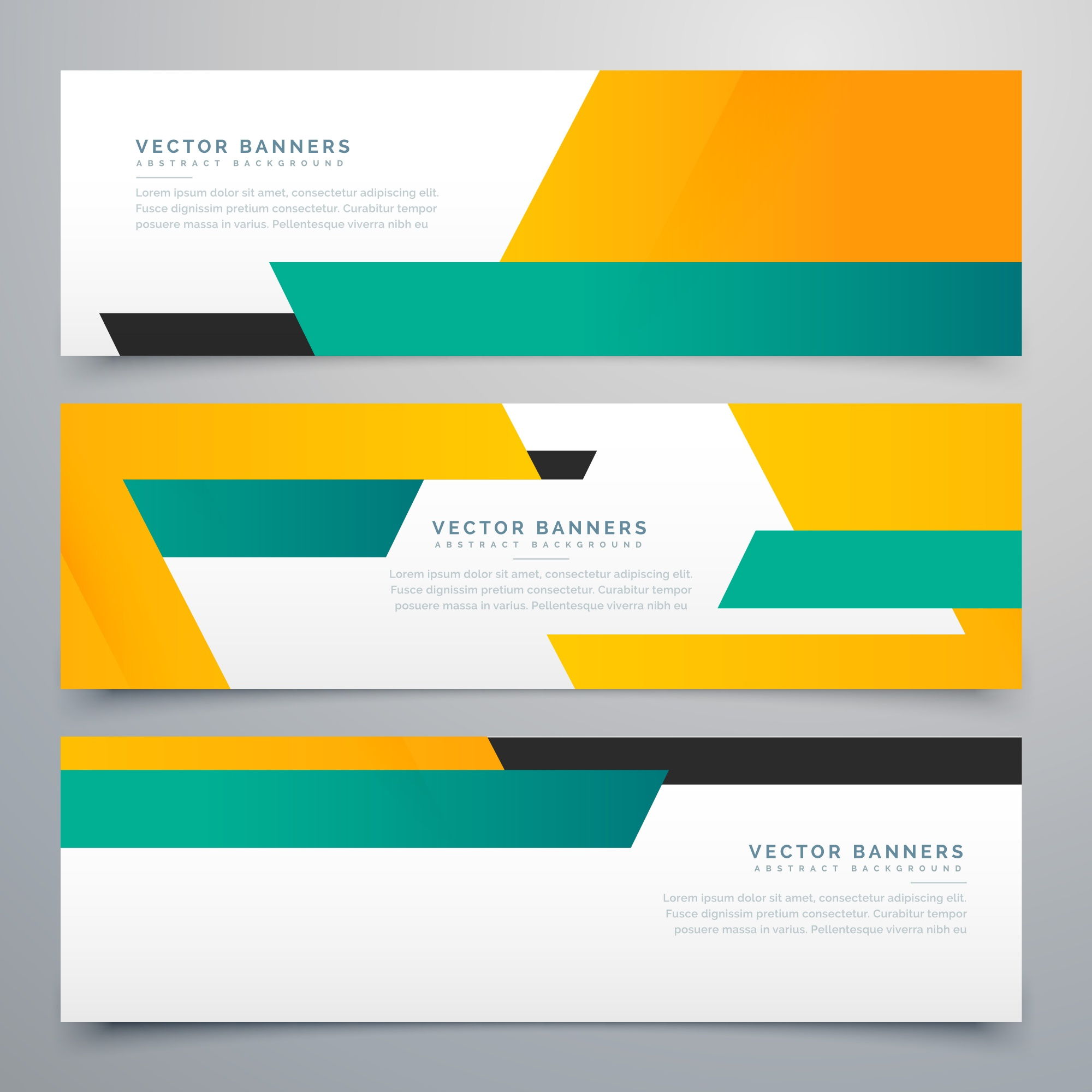 Geometric banners, teal and orange