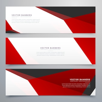 Geometric banners with red polygonal shapes