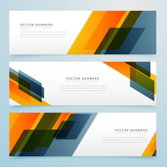 Geometric banners with yellow and gray shapes