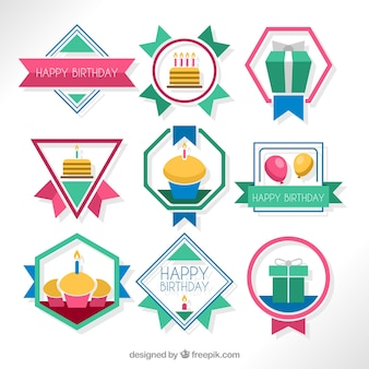 Geometric birthday badges in flat design