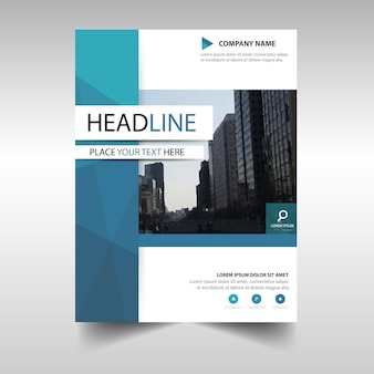 Geometric blue annual report book cover template