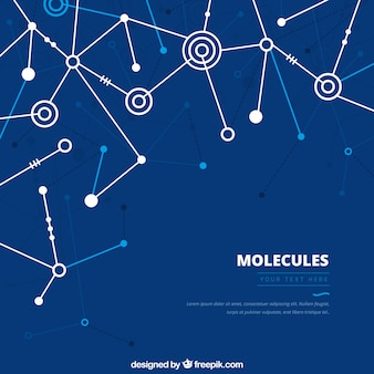 Geometric blue background of molecules