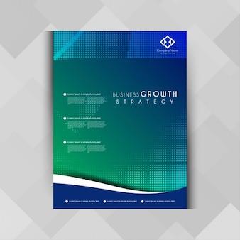 幾何学的な青色のビジネスパンフレット