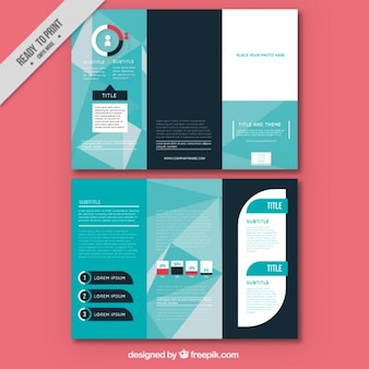Geometric brochure template in blue tones