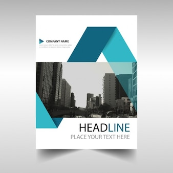 Geometric brochure with blue ribbons