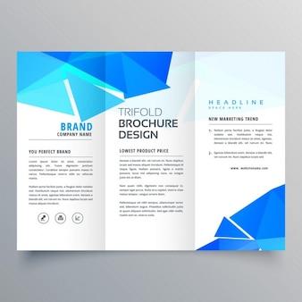 Geometric brochure with blue triangular shapes
