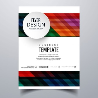 Geometric brochure with colored stripes