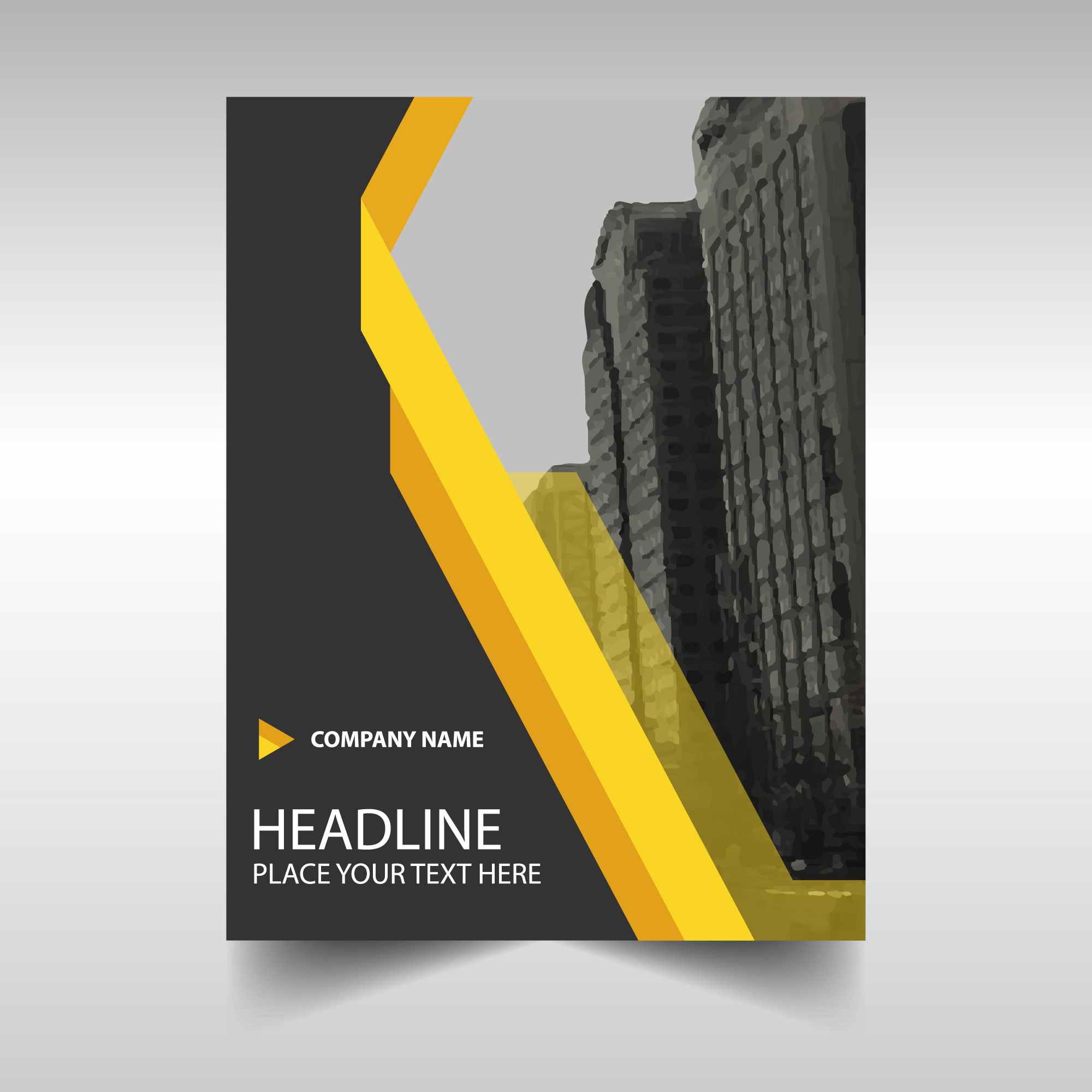 Geometric brochure with yellow lines