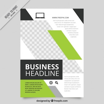 Geometric business brochure with green details