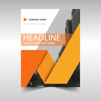 Geometric business brochure with orange shapes