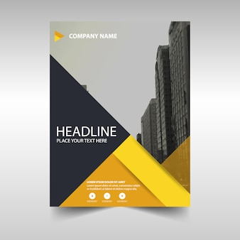 Geometric business brochure with yellow shapes