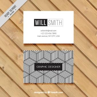 Геометрическая визитная карточка в черно-белом