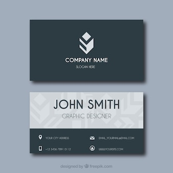 Geometric business card with flat design