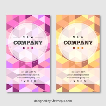 Geometric business cards in pink and yellow tones